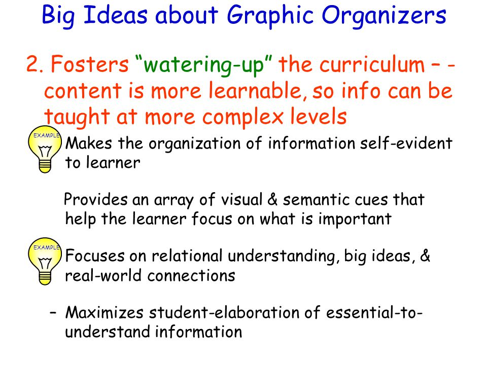 Big Ideas about Graphic Organizers 2.