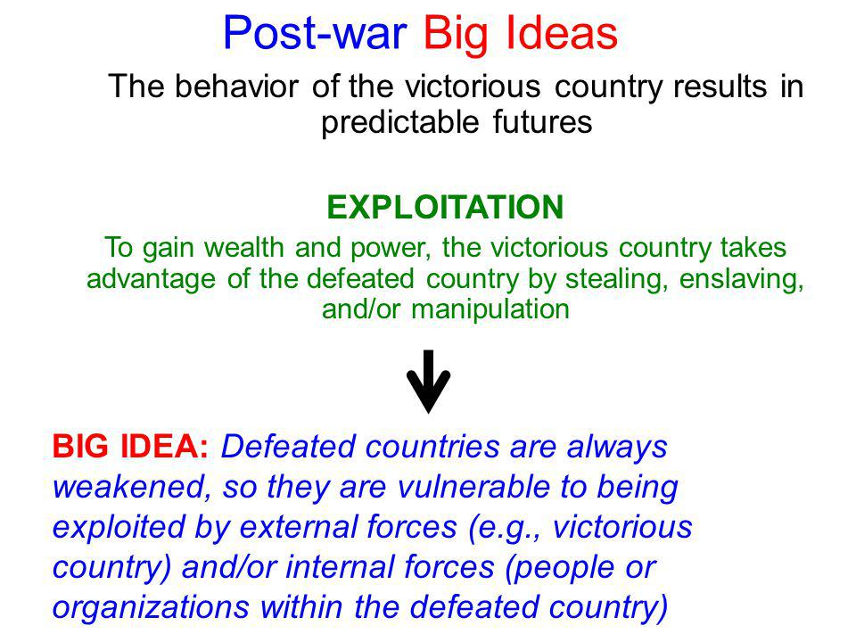 Post-war Big Ideas The behavior of the victorious country results in predictable futures BIG IDEA: Defeated countries are always weakened, so they are vulnerable to being exploited by external forces (e.g., victorious country) and/or internal forces (people or organizations within the defeated country) EXPLOITATION To gain wealth and power, the victorious country takes advantage of the defeated country by stealing, enslaving, and/or manipulation