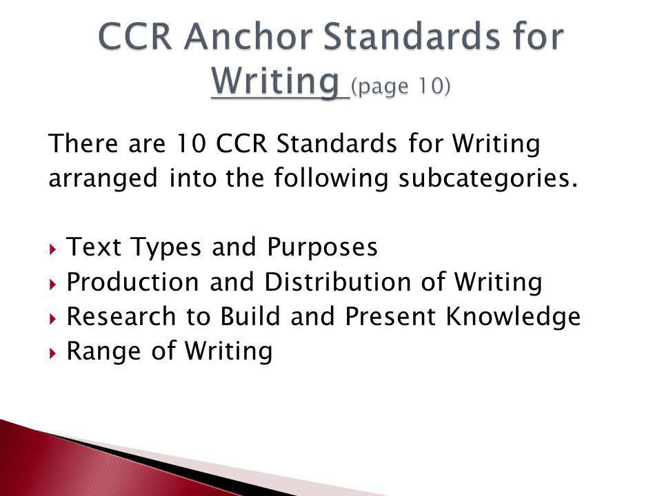 There are 10 CCR Standards for Writing arranged into the following subcategories.