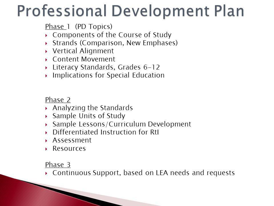 Phase 1 (PD Topics)  Components of the Course of Study  Strands (Comparison, New Emphases)  Vertical Alignment  Content Movement  Literacy Standards, Grades 6-12  Implications for Special Education Phase 2  Analyzing the Standards  Sample Units of Study  Sample Lessons/Curriculum Development  Differentiated Instruction for RtI  Assessment  Resources Phase 3  Continuous Support, based on LEA needs and requests