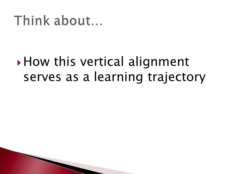  How this vertical alignment serves as a learning trajectory