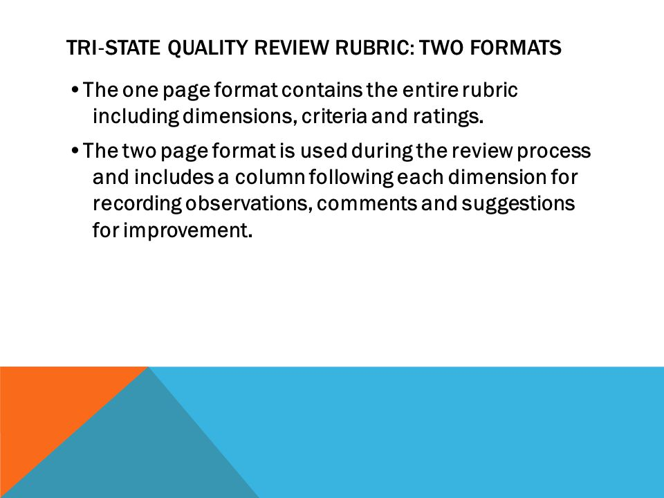 TRI ‐ STATE QUALITY REVIEW RUBRIC: TWO FORMATS The one page format contains the entire rubric including dimensions, criteria and ratings.