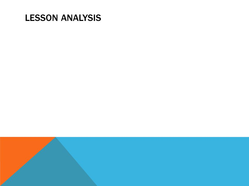 LESSON ANALYSIS