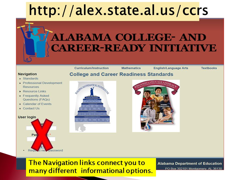 http://alex.state.al.us/ccrs The Navigation links connect you to many different informational options.