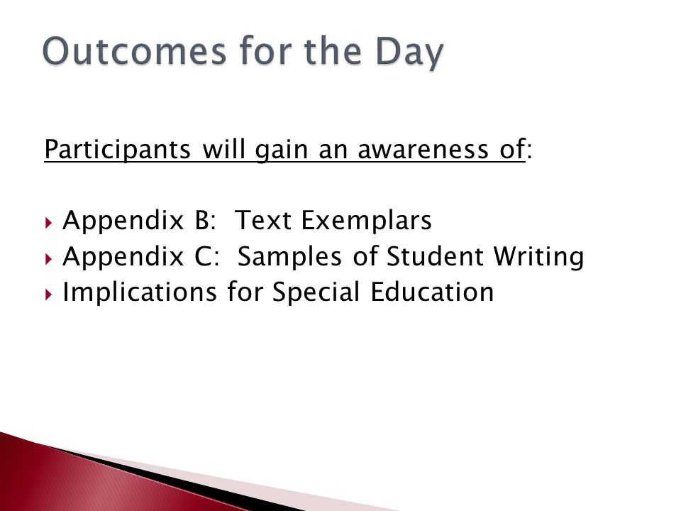 Participants will gain an awareness of:  Appendix B: Text Exemplars  Appendix C: Samples of Student Writing  Implications for Special Education