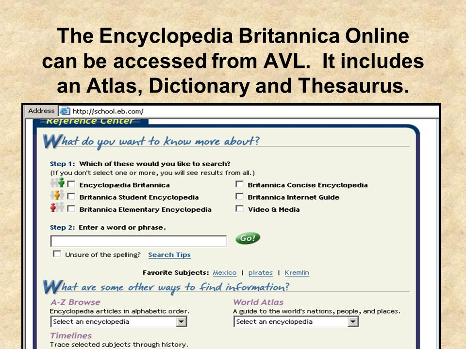 The Encyclopedia Britannica Online can be accessed from AVL. It includes an Atlas, Dictionary and Thesaurus.