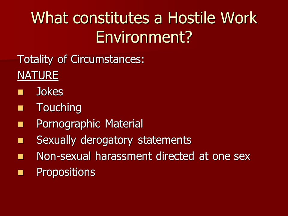 What constitutes a Hostile Work Environment.