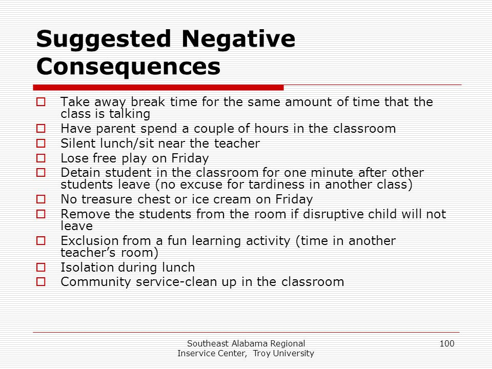 Southeast Alabama Regional Inservice Center, Troy University 100 Suggested Negative Consequences  Take away break time for the same amount of time th