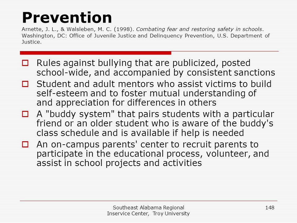 Southeast Alabama Regional Inservice Center, Troy University 148 Prevention Arnette, J.
