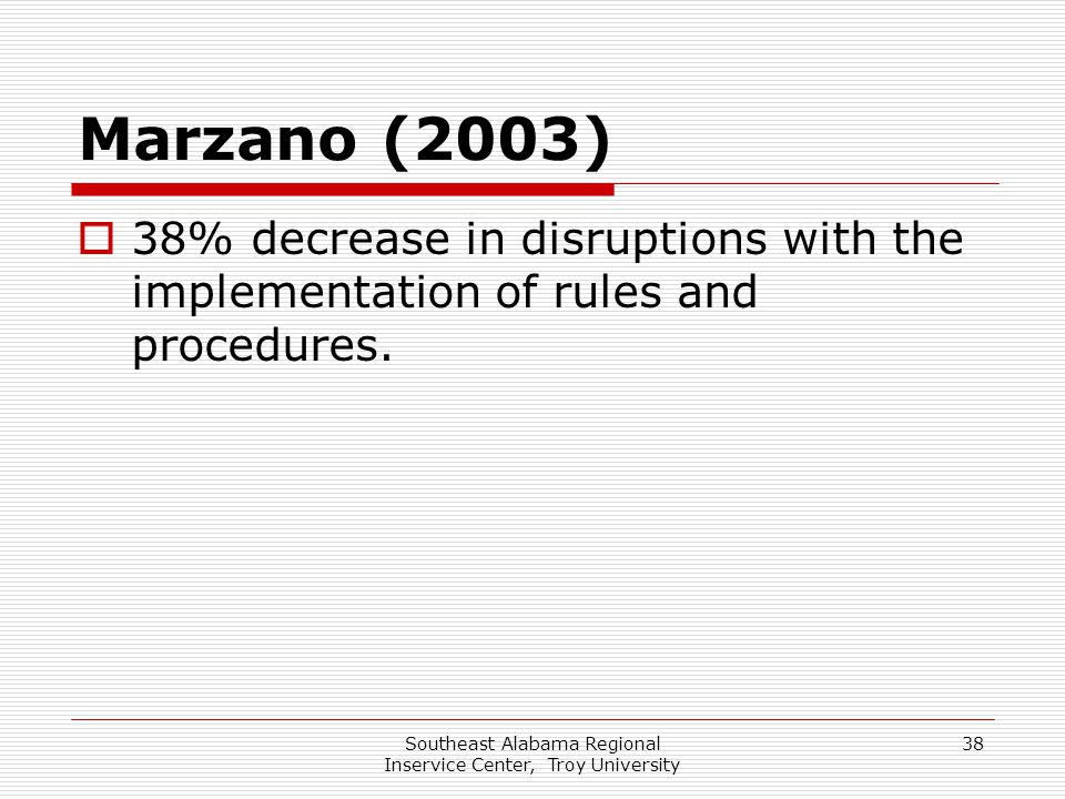 Southeast Alabama Regional Inservice Center, Troy University 38 Marzano (2003)  38% decrease in disruptions with the implementation of rules and proc
