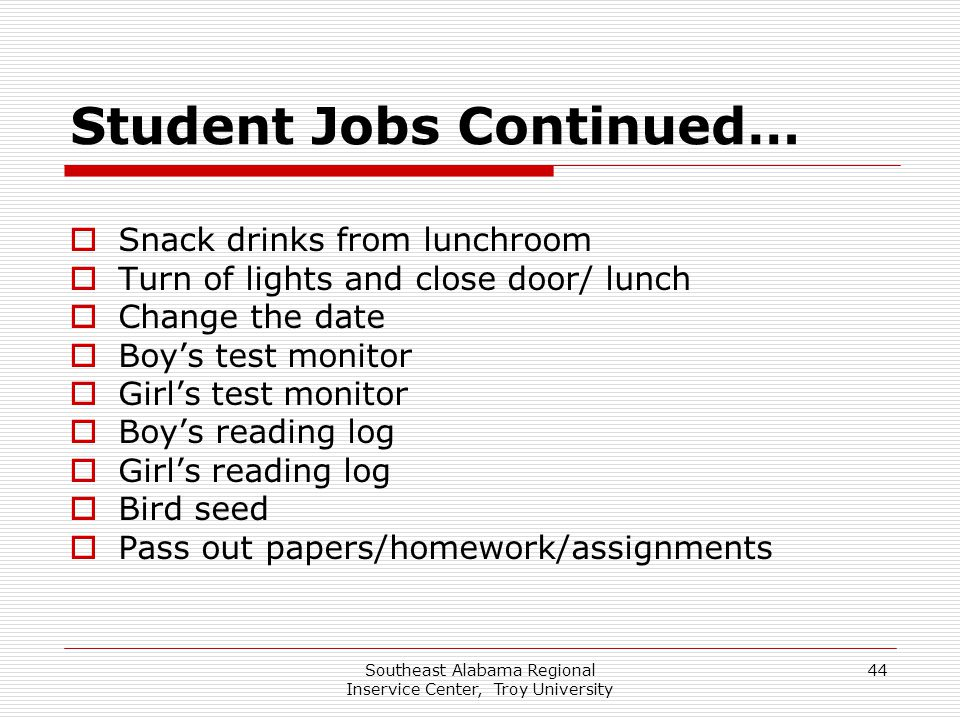 Southeast Alabama Regional Inservice Center, Troy University 44 Student Jobs Continued…  Snack drinks from lunchroom  Turn of lights and close door/