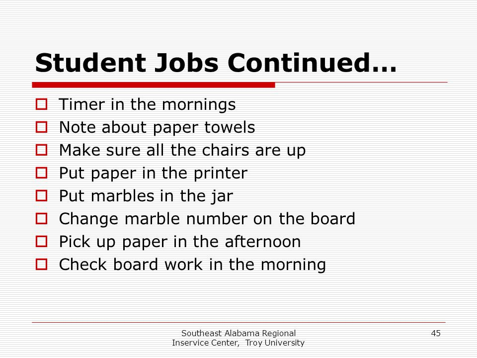 Southeast Alabama Regional Inservice Center, Troy University 45 Student Jobs Continued…  Timer in the mornings  Note about paper towels  Make sure