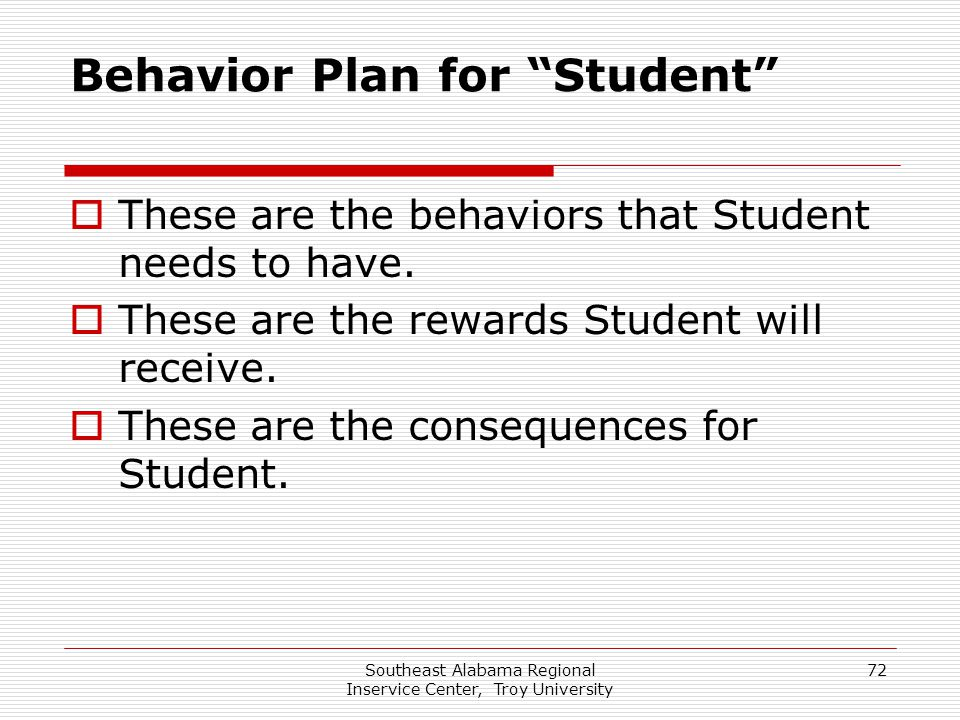 "Southeast Alabama Regional Inservice Center, Troy University 72 Behavior Plan for ""Student""  These are the behaviors that Student needs to have.  Th"