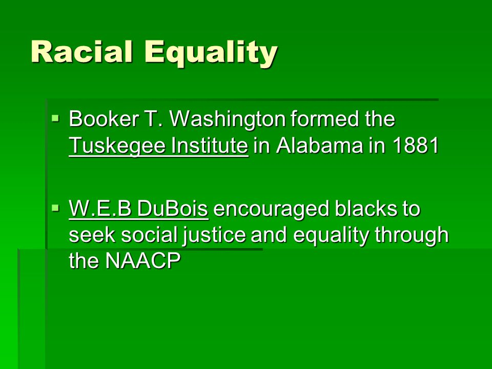 Racial Equality  Booker T.