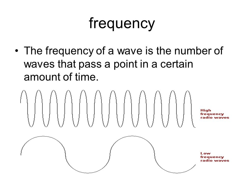 The frequency of a wave is the number of waves that pass a point in a certain amount of time.
