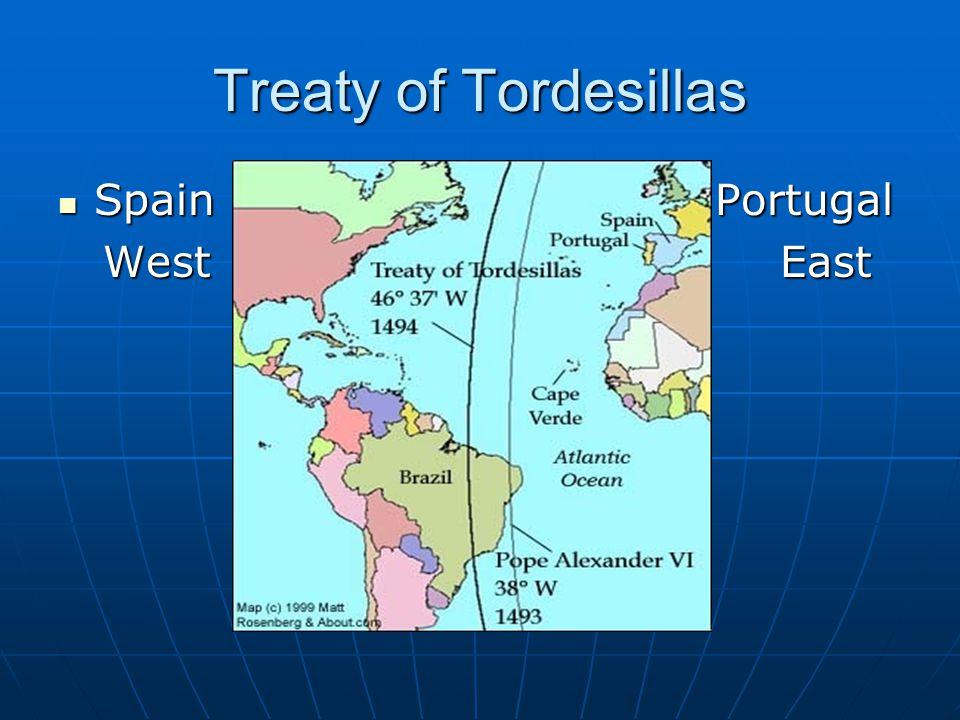 Treaty of Tordesillas Spain Portugal Spain Portugal West East West East