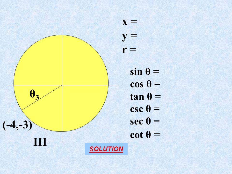 III x = y = r = (-4,-3) sin θ = cos θ = tan θ = csc θ = sec θ = cot θ = θ3θ3 SOLUTION