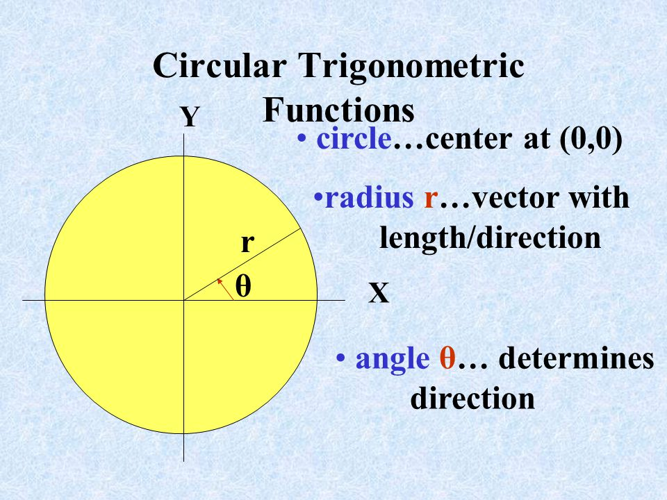 Circular Trigonometric Functions Y X r θ circle…center at (0,0) radius r…vector with length/direction angle θ… determines direction