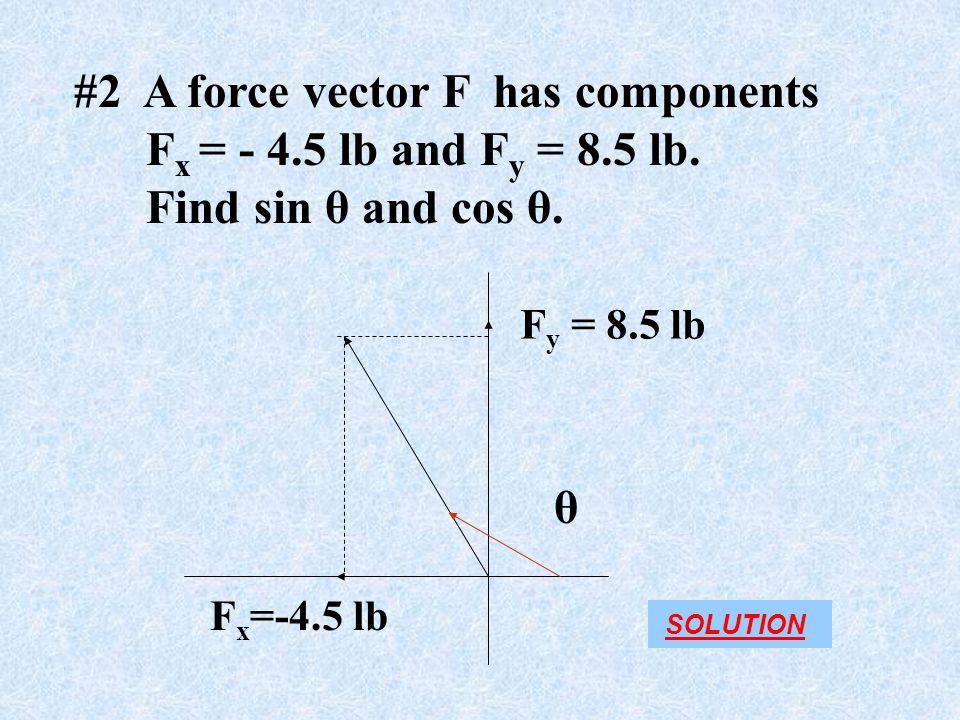 #2 A force vector F has components F x = - 4.5 lb and F y = 8.5 lb.