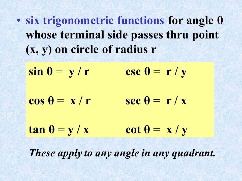 six trigonometric functions for angle θ whose terminal side passes thru point (x, y) on circle of radius r sin θ = y / r csc θ = r / y cos θ = x / rsec θ = r / x tan θ = y / xcot θ = x / y These apply to any angle in any quadrant.