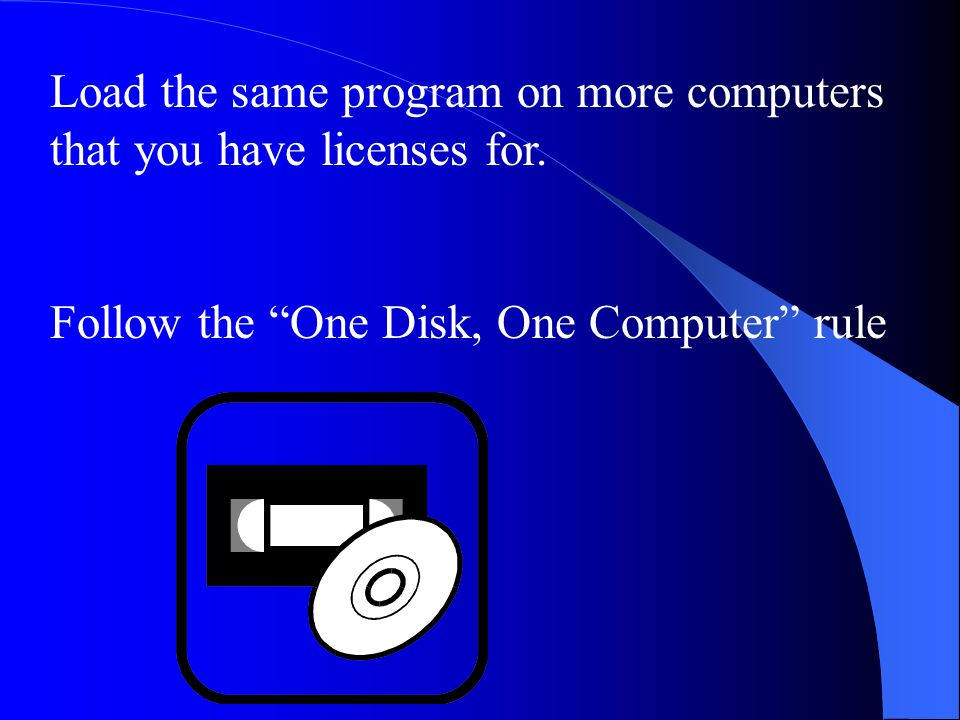 Load the same program on more computers that you have licenses for.