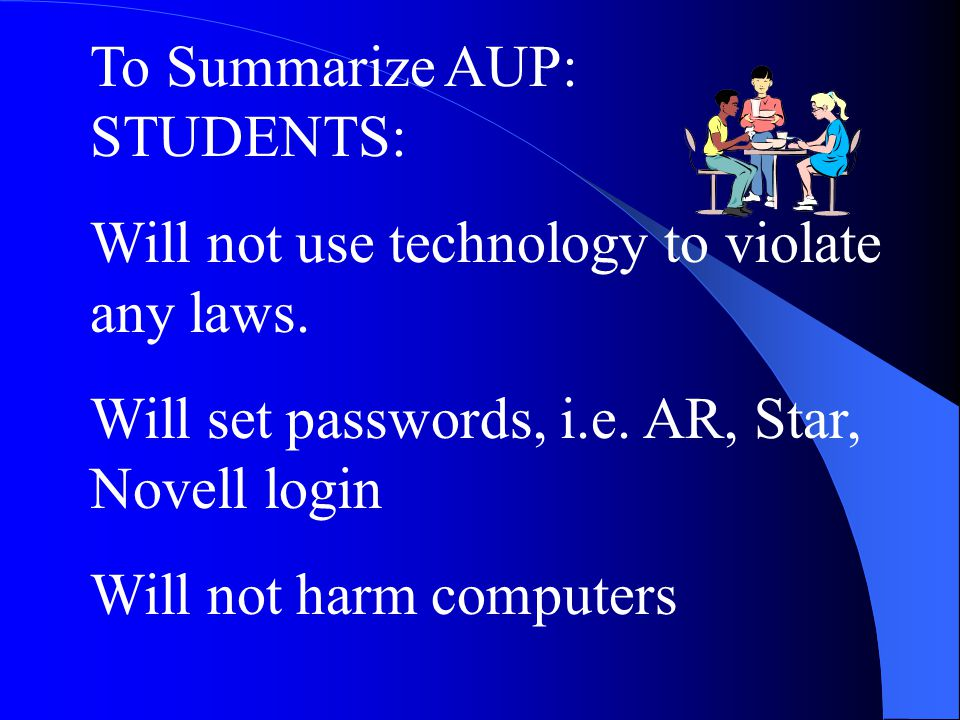 To Summarize AUP: STUDENTS: Will not use technology to violate any laws.