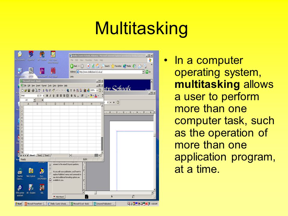Multitasking In a computer operating system, multitasking allows a user to perform more than one computer task, such as the operation of more than one application program, at a time.