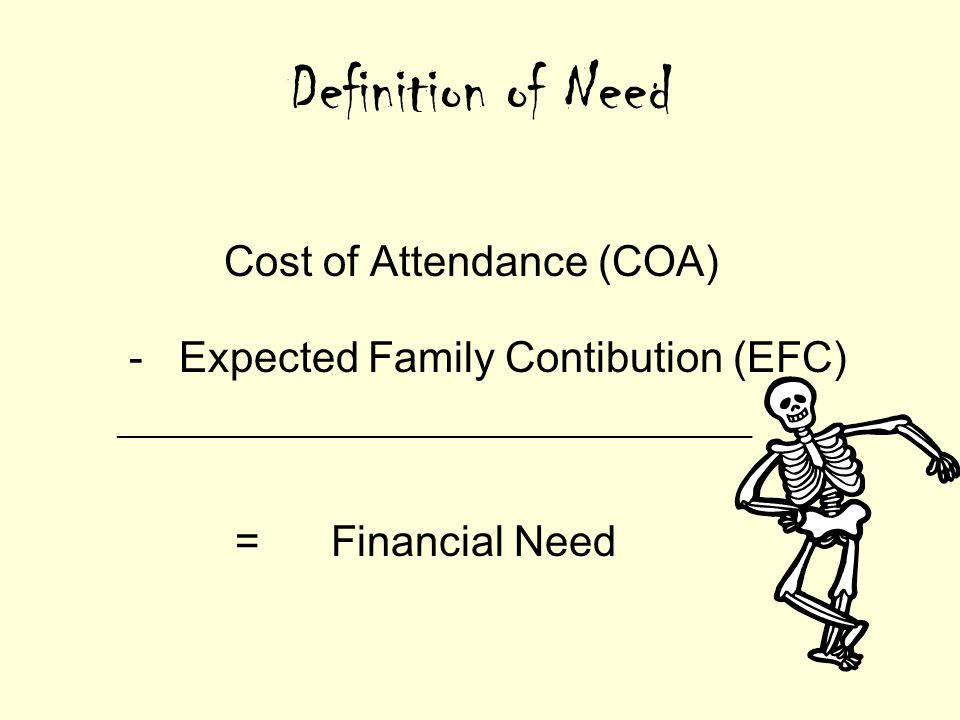 Definition of Need Cost of Attendance (COA) - Expected Family Contibution (EFC) ________________________________________________ = Financial Need