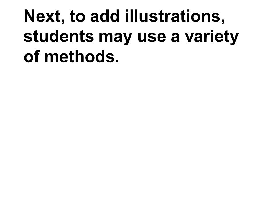 Next, to add illustrations, students may use a variety of methods.