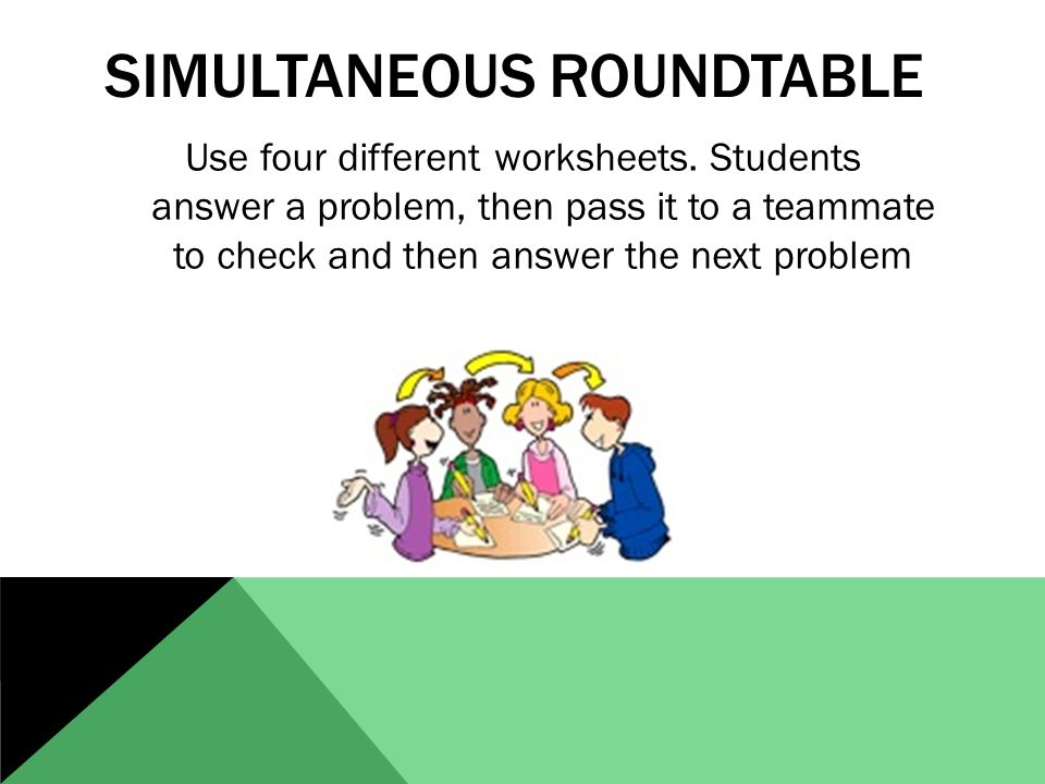 SIMULTANEOUS ROUNDTABLE Use four different worksheets.