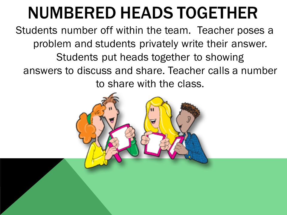 NUMBERED HEADS TOGETHER Students number off within the team.