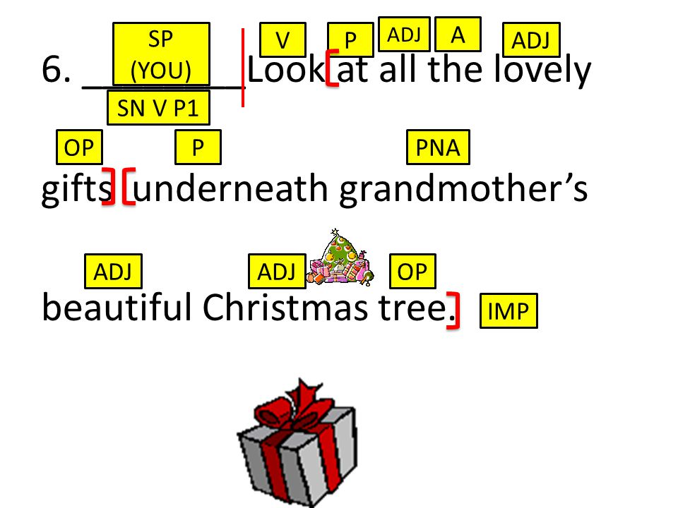 6. ________Look at all the lovely gifts underneath grandmother's beautiful Christmas tree.