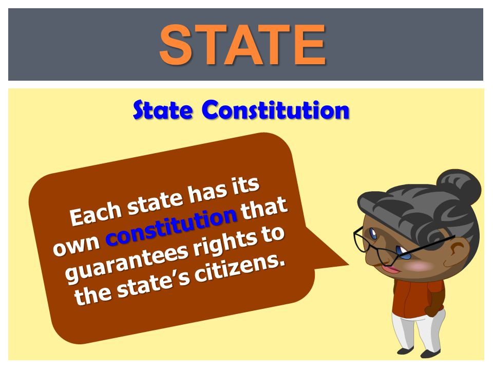Each state has its own constitution that guarantees rights to the state's citizens. State Constitution STATE