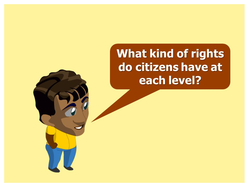 What kind of rights do citizens have at each level?