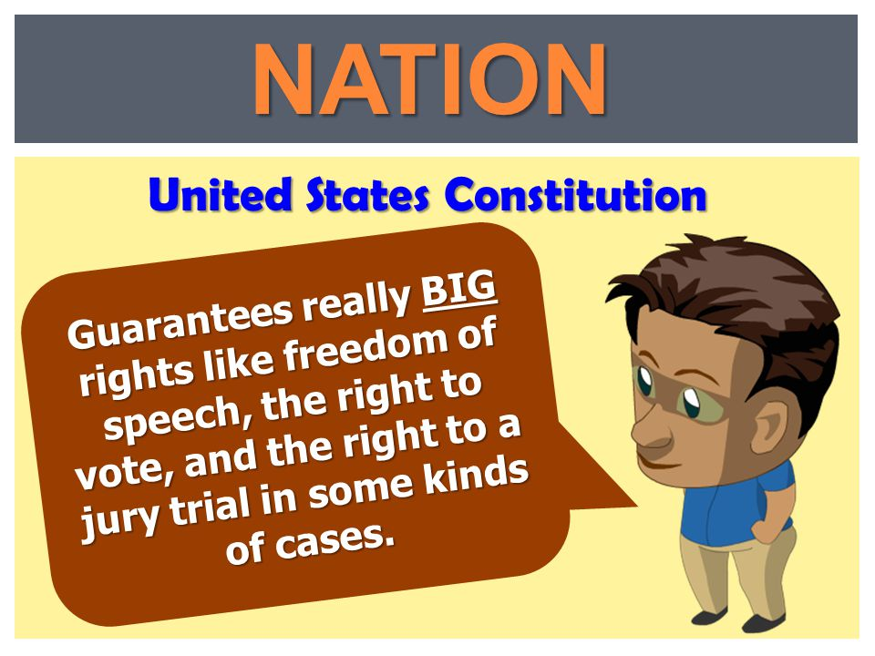 Guarantees really BIG rights like freedom of speech, the right to vote, and the right to a jury trial in some kinds of cases. United States Constituti