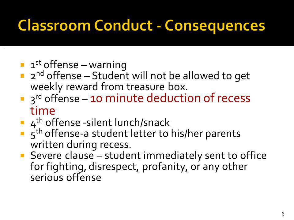  1 st offense – warning  2 nd offense – Student will not be allowed to get weekly reward from treasure box.  3 rd offense – 10 minute deduction of