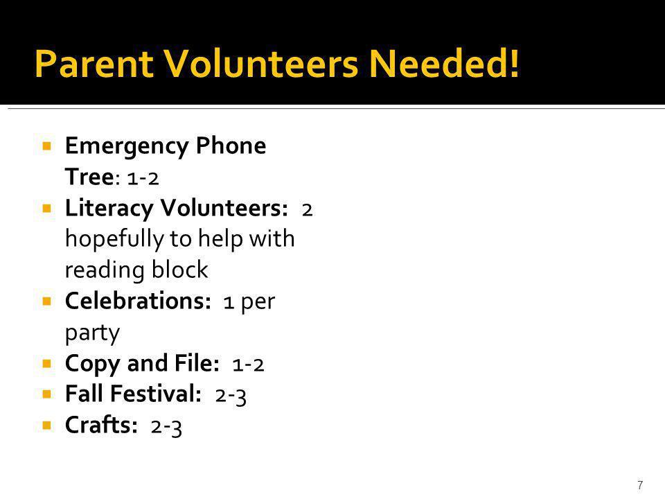 7 Parent Volunteers Needed!  Emergency Phone Tree: 1-2  Literacy Volunteers: 2 hopefully to help with reading block  Celebrations: 1 per party  Co