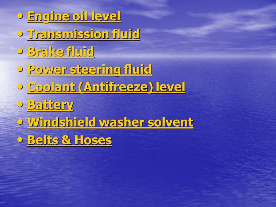 Engine oil level Engine oil level Engine oil level Engine oil level Transmission fluid Transmission fluid Transmission fluid Transmission fluid Brake
