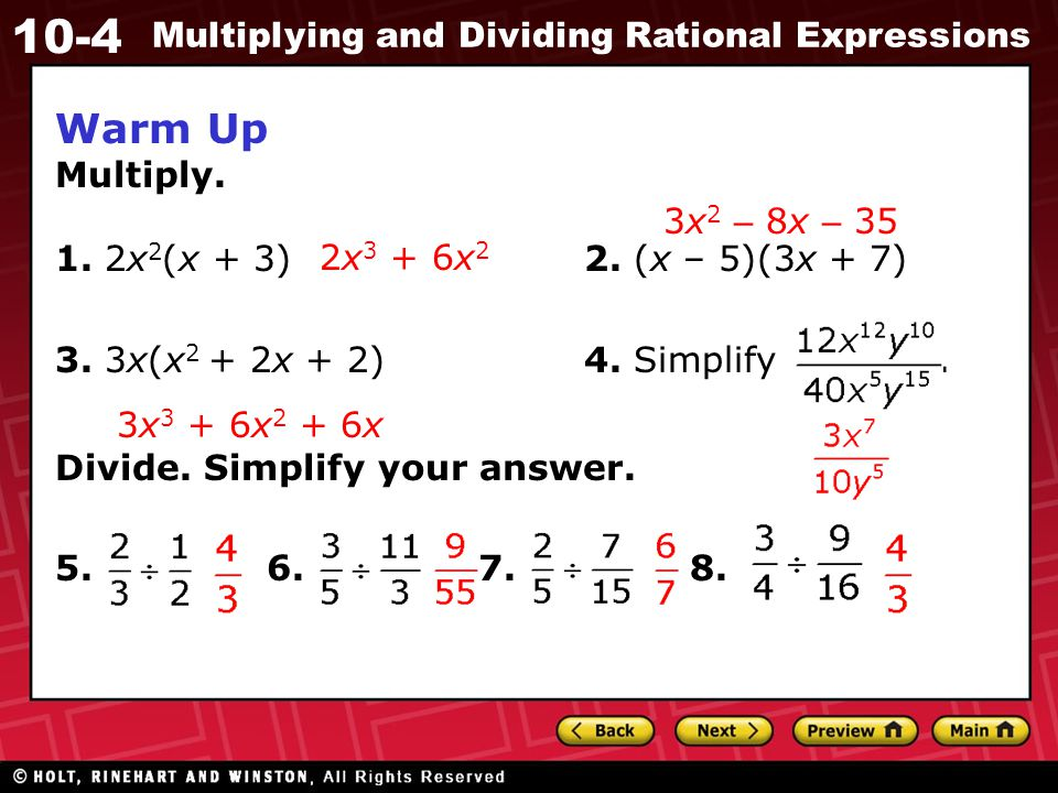 10-4 Multiplying and Dividing Rational Expressions Check It Out.