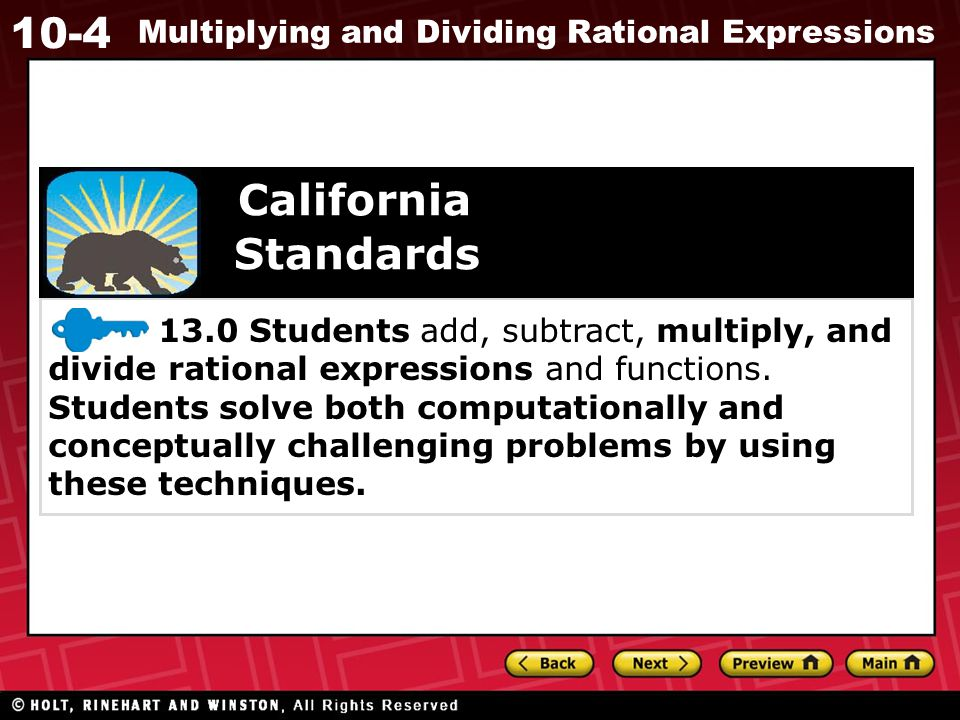 10-4 Multiplying and Dividing Rational Expressions Additional Example 4B Continued Divide.