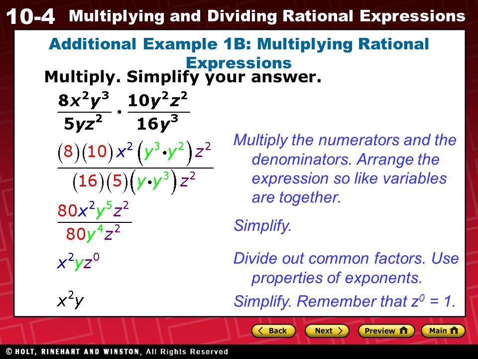 10-4 Multiplying and Dividing Rational Expressions Divide.