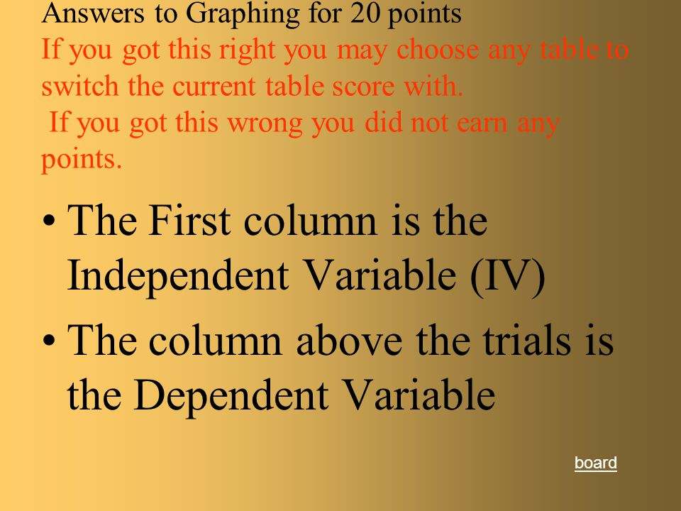 Graphing for 20 points In which column do you find the independent Variable? Which is the Dependent Variable? Type of Water Time (units) 1 2 3 Average