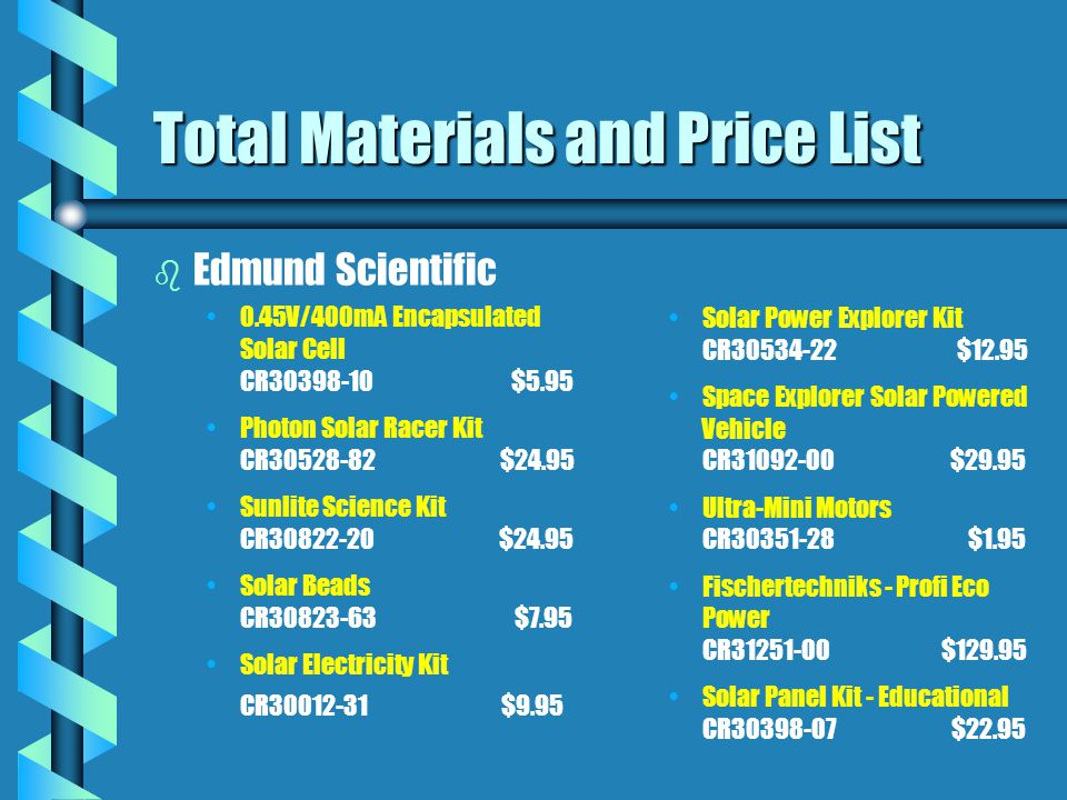 Total Materials and Price List b b Edmund Scientific 0.45V/400mA Encapsulated Solar Cell CR30398-10 $5.95 Photon Solar Racer Kit CR30528-82 $24.95 Sunlite Science Kit CR30822-20 $24.95 Solar Beads CR30823-63 $7.95 Solar Electricity Kit CR30012-31 $9.95 Solar Power Explorer Kit CR30534-22 $12.95 Space Explorer Solar Powered Vehicle CR31092-00 $29.95 Ultra-Mini Motors CR30351-28 $1.95 Fischertechniks - Profi Eco Power CR31251-00 $129.95 Solar Panel Kit - Educational CR30398-07 $22.95
