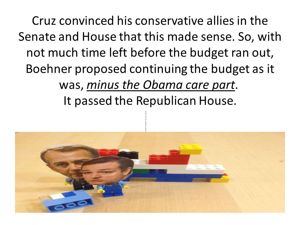 Cruz convinced his conservative allies in the Senate and House that this made sense.