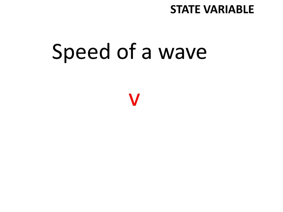 Speed of a wave v STATE VARIABLE