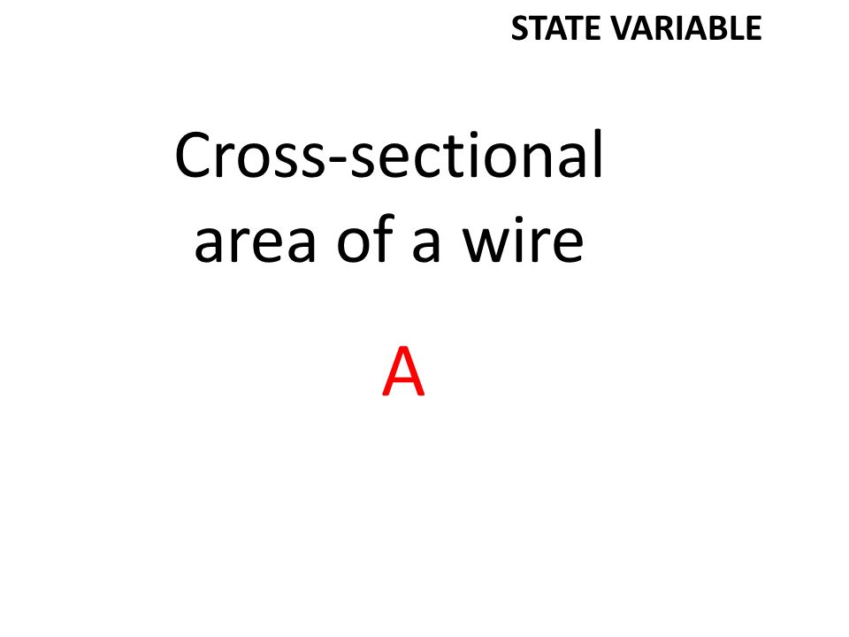 Cross-sectional area of a wire A STATE VARIABLE