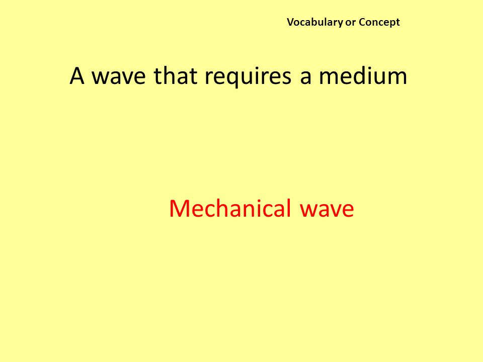 Vocabulary or Concept A wave that requires a medium Mechanical wave