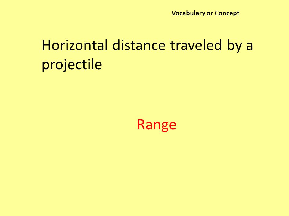 Vocabulary or Concept Horizontal distance traveled by a projectile Range
