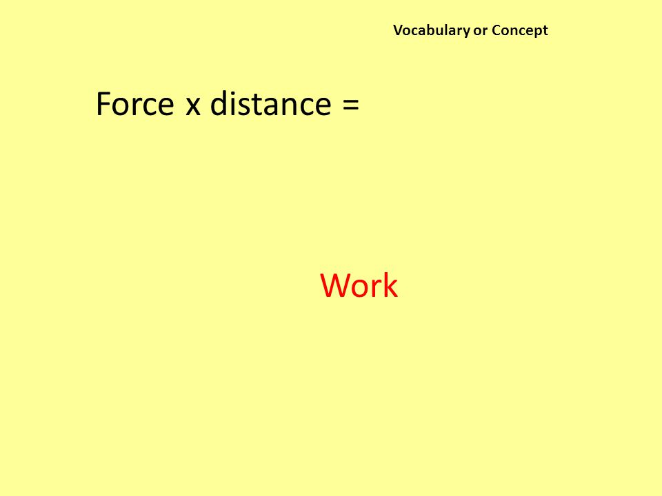 Vocabulary or Concept Force x distance = Work
