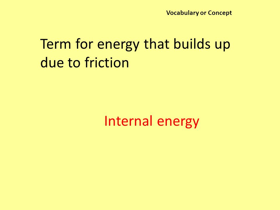 Vocabulary or Concept Term for energy that builds up due to friction Internal energy